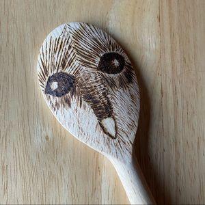 Artisan OWL wood burned wooden spoon